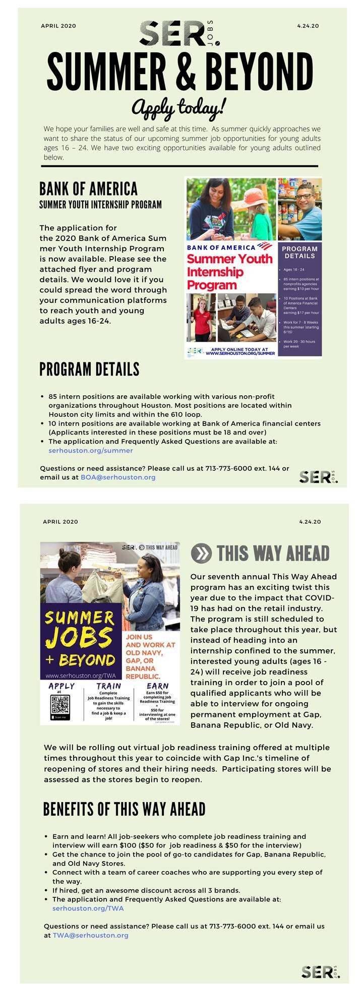 SERJobs Youth Internship Opportunities
